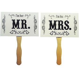 TRIXES Mr and Mrs Right Picture Photo Prop Cards