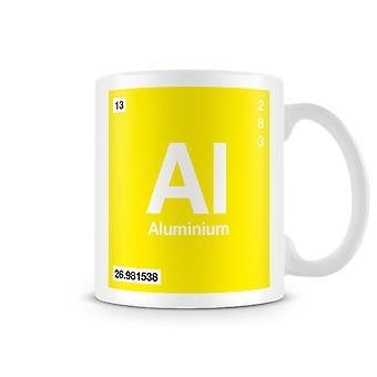 Mug imprimé scientifique, mettant en vedette élément symbole 013 Al - Aluminium