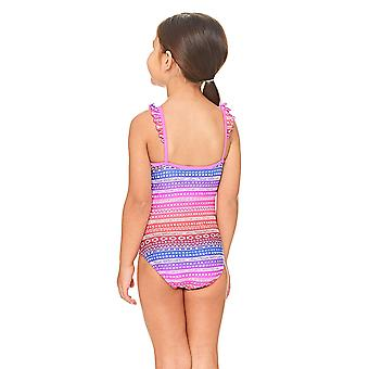 Zoggs Ikat Frill Classic back Swimsuit Pink/Multi