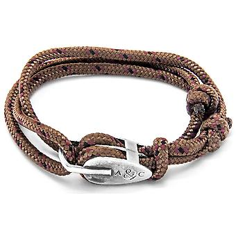 Anchor and Crew Tyne Silver and Rope Bracelet - Brown