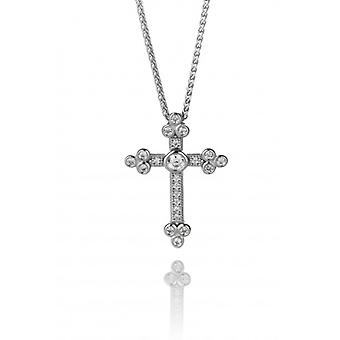 "Cavendish French Silver and CZ Cathedral Cross Pendant with 16 - 18"" Silver Chain"