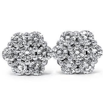 1ct brand Pave Diamond hengsten 14K White Gold