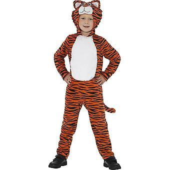 トラ衣装、オレンジ ・黒フード付きジャンプ スーツ ・尾で、