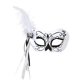 Calavera Eye Mask with Side Feather
