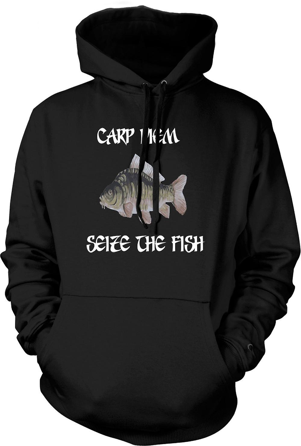Para hombre con capucha - carpa Diem - agarrar el pescado - gracioso