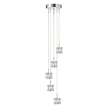 SEARCHLIGHT 5 Ice Cube  Adjustable 5  Light Ceiling Pendant In Chrome