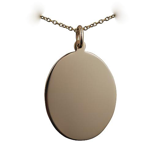 9ct Gold 27x21mm plain oval Disc with a cable Chain 16 inches Only Suitable for Children