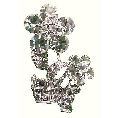 Classy Vase Brooch Sparkling Unique Stunning Dazzling Clear Crystals
