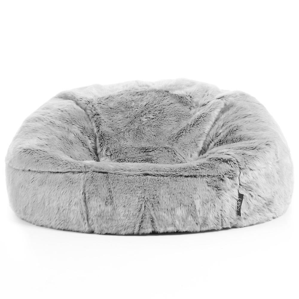 Icon® Faux Fur Bean Bag Chair - Arctic Wolf Grey, Extra Large, 84cm x 70cm - Luxurious Furry BeanBag Seat