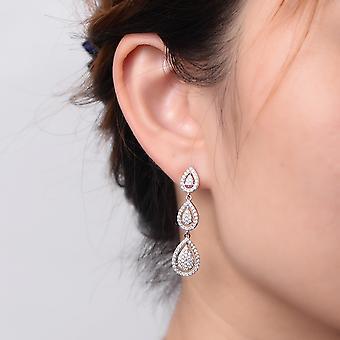 925 Sterling Silver Pear Bridal Aaaaa Cz Drop Earrings
