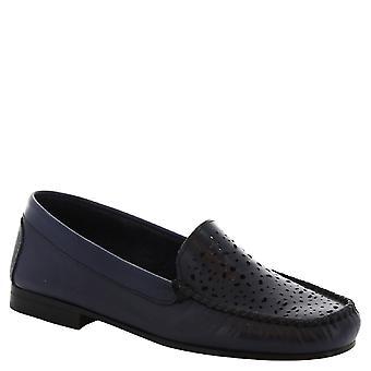 Leonardo skor kvinnors handgjorda slip-on loafers i genombrutna blå kalvläder