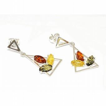 Toc Sterling Silver Triangular Multi Color Amber Drop Earrings