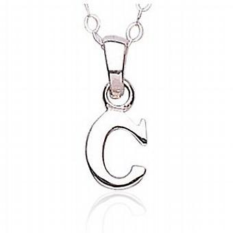 Jo For Girls sterling Silver Letter 'C' Pendant on a 14 Inch Chain