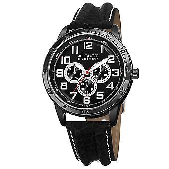 August Steiner Men es AS8116BK Multifunktion Leder Strap Watch
