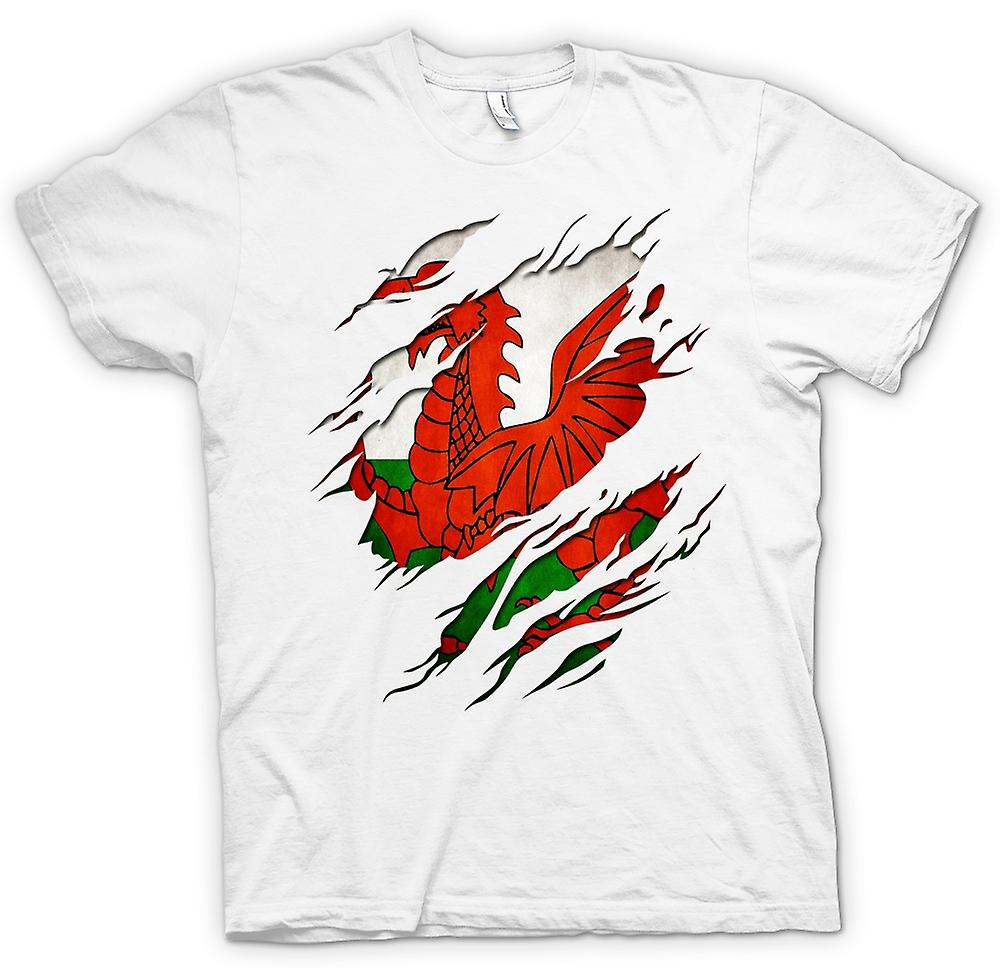 Mens t-shirt - Welsh Flag Grunge strappato effetto