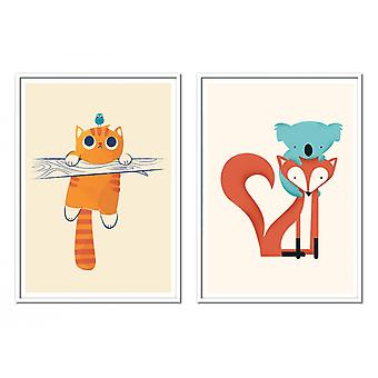 2 Art-Posters 30 x 40 cm - Duo Animaux - Jay Fleck