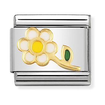 Nomination Classic White and Yellow Flower Steel, Enamel and 18k Gold Link Charm 030214/05