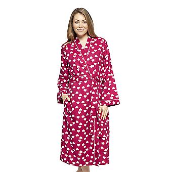 Cyberjammies 4222 Women's Susie Cherry Red Heart Print Cotton Long Robe