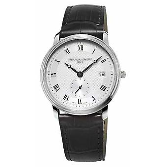 Frederique Constant Slimline Mens Sapphire Glass Black Leather Strap FC-245M4S6 Watch