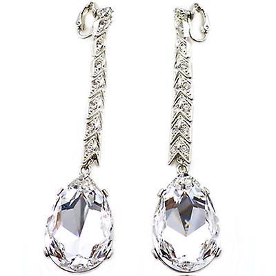 Kenneth Jay Lane Silver & Crystal Tear Drop Clip On Earrings