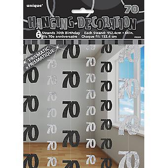 6 x 70 födelsedag part hängande sträng DEKORATIONER folie METALLISKT MILSTOLPE svart