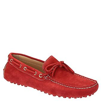 Red suede moccasins for men handmade in Italy
