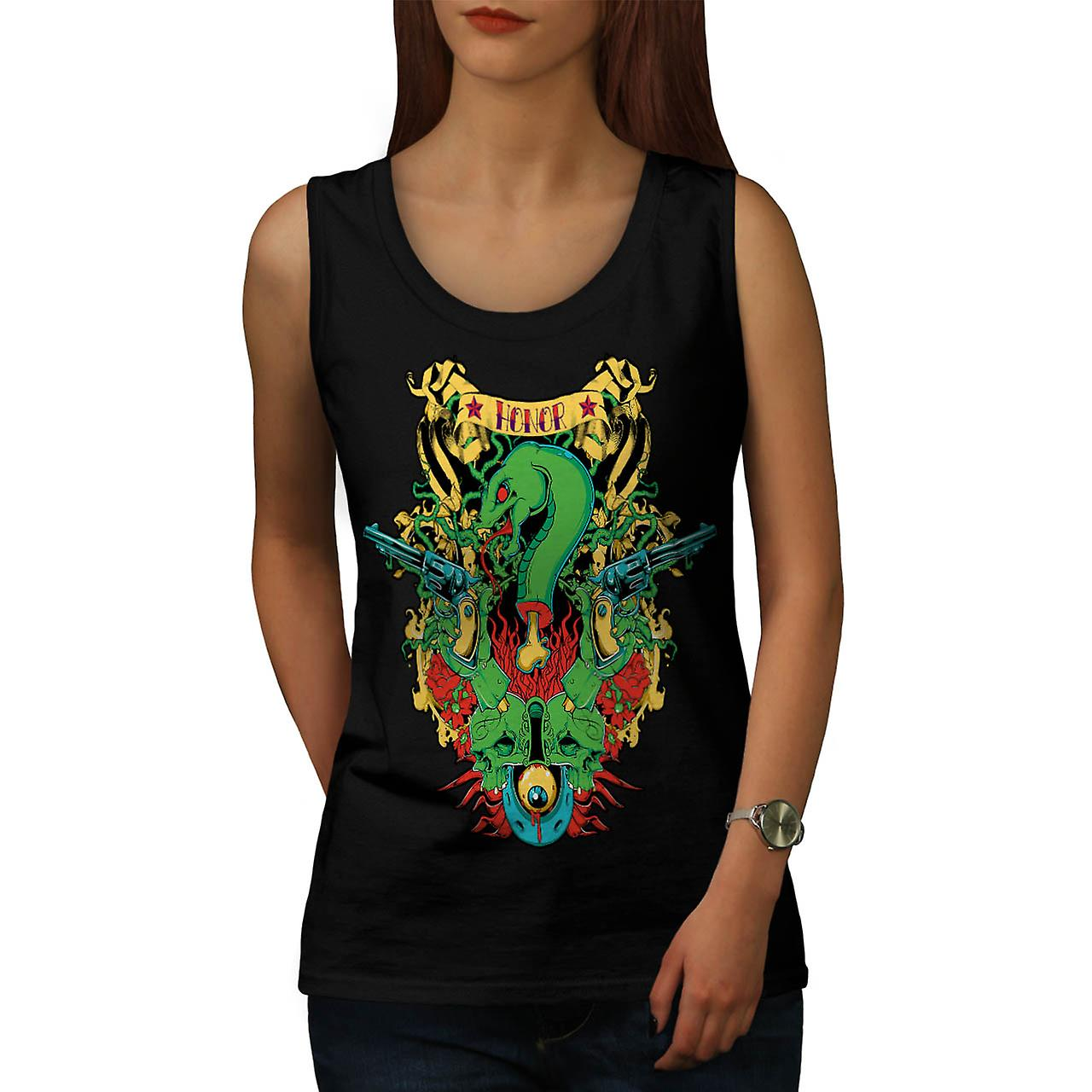 Dragon Death Honour Snake Myth Women Black Tank Top | Wellcoda