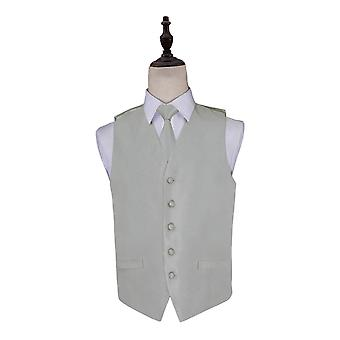 Solid Check Silver Wedding Waistcoat & Tie Set