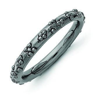 2.5mm Sterling Silver Stackable Expressions Black-plated Textured Ring - Ring Size: 5 to 10