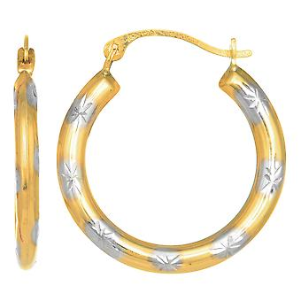 10k 2 Tone Yellow And White Gold Diamond Cut Round Hoop Earrings, Diameter 18mm