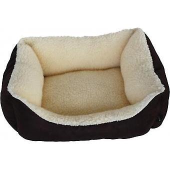 HEM & Boo Mini rektangel Bed luksus Faux ruskind Fleece indvendig brun/creme 18 x 17