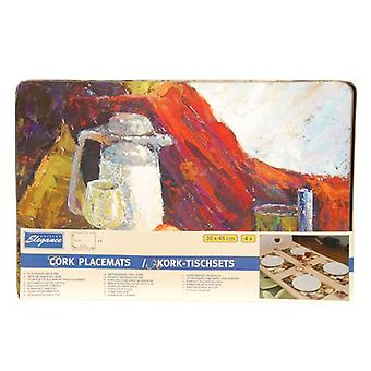 Cuisine Elegance 4 piece Cork Placemat Table Protector