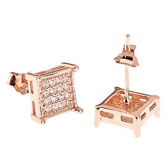 925 MICRO PAVE earrings - SQUARE 8 mm rose gold