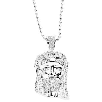 Iced out bling micro pave necklace - MINI JESUS II silver