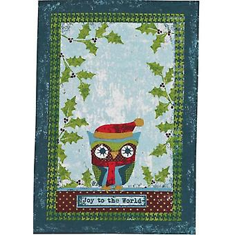 Joy to the World Cozy Owl Holly Branches Holiday Print Dish Towel Split P
