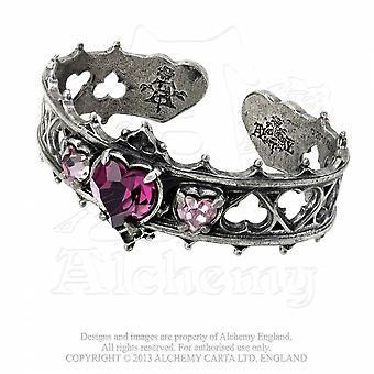 Handgemaakte Alchemy Gothic Elizabethaanse Swarovski Crystal Heart tinnen armband (instelbaar)