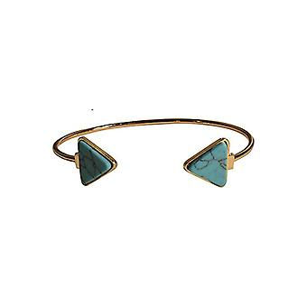 Minimalist chic marble statement cuff bracelet triangle turquoise