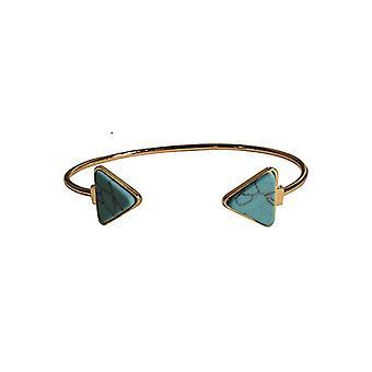 Minimalist chic marble statement cuff armband driehoek turquoise