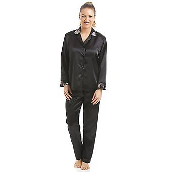 Camille Luxury svart blommig Satin Pyjamas Set