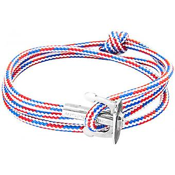 Anchor and Crew Union Silver and Rope Bracelet - Red/White/Blue