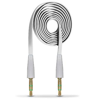 ONX3 (White) BlackBerry DTEK50 / BlackBerry Neon 3.5mm Stereo Male to Male Jack Plug Audio Aux Flat Cable Sound Lead Gold Connectors