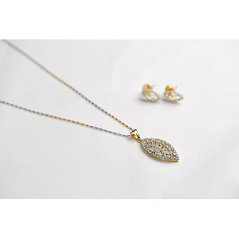 GOLD PLATED & SEMI PRECIOUS GEMS EARRINGS AND NECKLACE SET