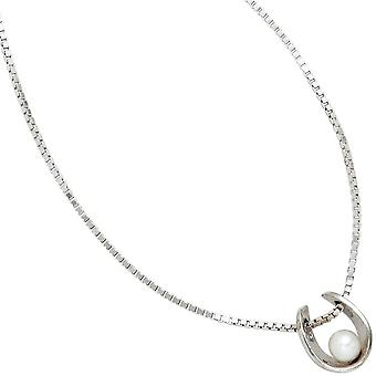 Hoefijzer charme 925 sterling zilver rodium plated 1 Freshwater Pearl