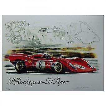 Sebastien Sauvadet Ferrari 312 1000km Spa 1969 Print By Sebastien Sauvadet