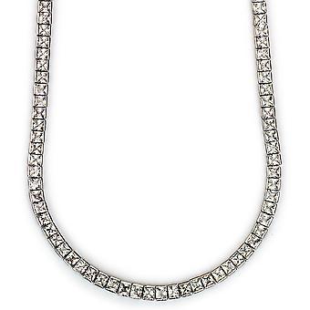 Tennis-Halskette Platin plattiert CZ quadratisch geschnitten 4mm