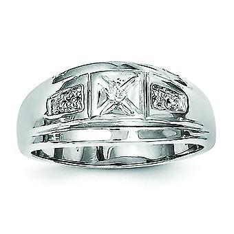 Sterling Zilver gepolijst Rhodium-plated Rhodium vergulde Mens diamantring - Ringmaat: 9 t/m 11