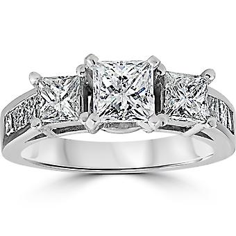 2ct corte princesa noivado reforçada Diamond Ring 14K White Gold