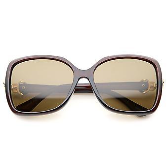 Women's Polarized Metal Temple Rhinestone Accent Square Oversize Sunglasses 59mm