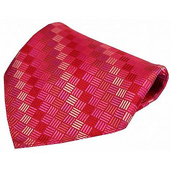 Posh and Dandy Box Pattern Luxury Pocket Square - Red