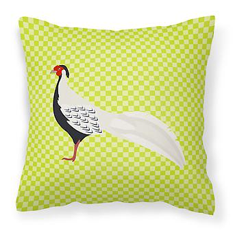 Carolines Treasures  BB7755PW1818 Silver Pheasant Green Fabric Decorative Pillow